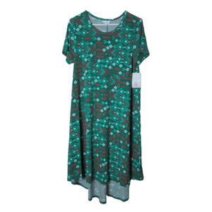 Lularoe carly dress green red geometric